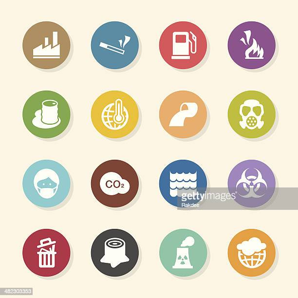 pollution icons - color circle series - water treatment stock illustrations, clip art, cartoons, & icons