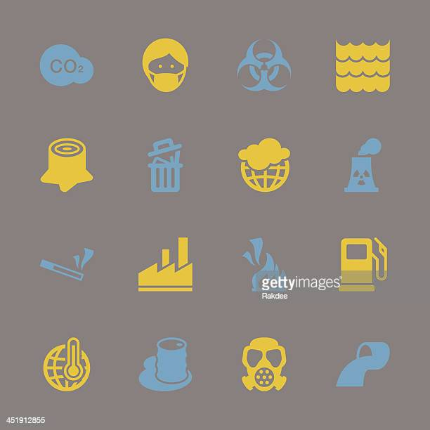 pollution icons - color series | eps10 - water treatment stock illustrations, clip art, cartoons, & icons