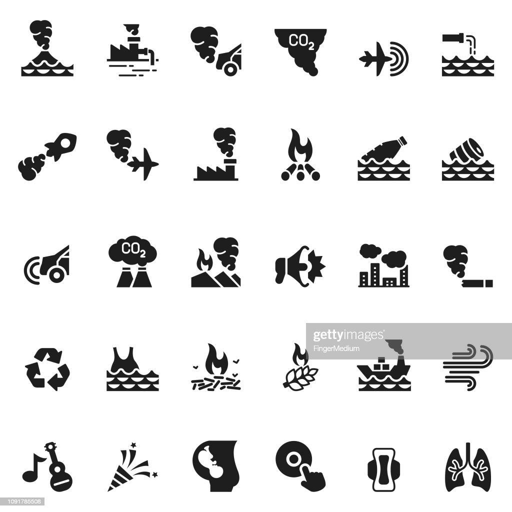 Pollution icons : stock illustration