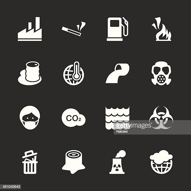 pollution icons - white series | eps10 - water treatment stock illustrations, clip art, cartoons, & icons