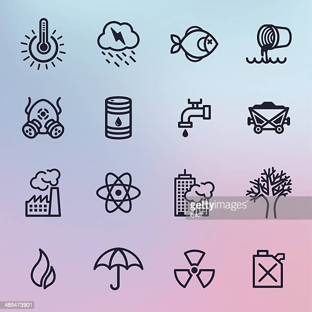 Pollution Line Icons