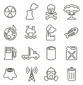 Pollution or Contamination Icons Thin Line Vector Illustration Set