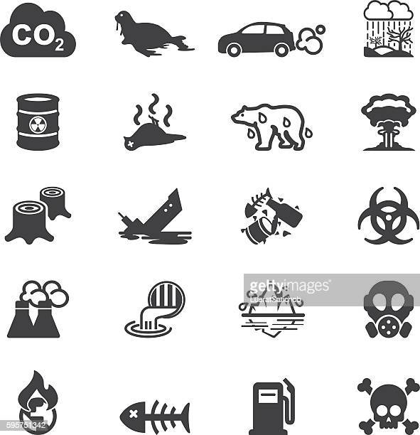 Pollution Silhouette Icons | EPS10