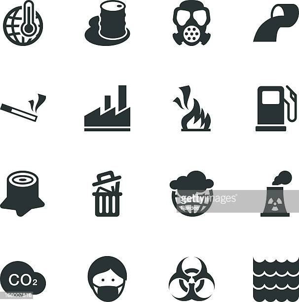 pollution silhouette icons - water treatment stock illustrations, clip art, cartoons, & icons