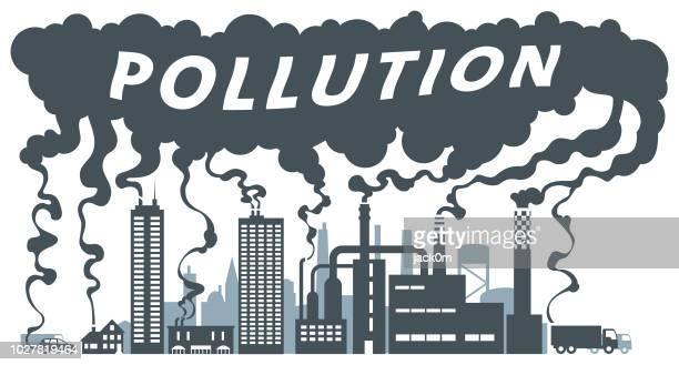 ilustraciones, imágenes clip art, dibujos animados e iconos de stock de fuentes de contaminación - gas de efecto invernadero