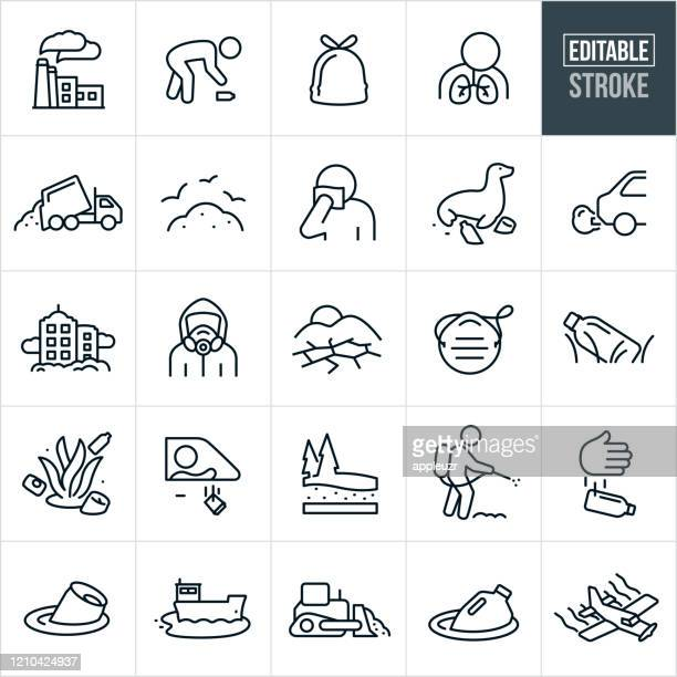 pollution thin line icons - editable stroke - poisonous stock illustrations