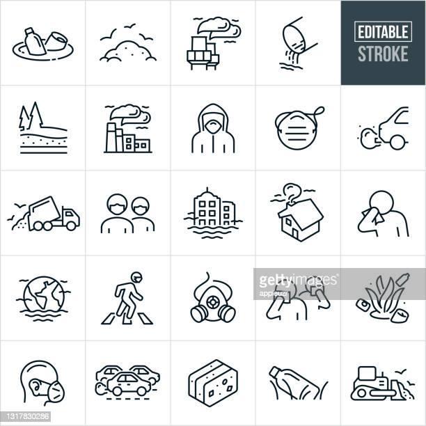 verschmutzung thin line icons - editable stroke - kontaminierung stock-grafiken, -clipart, -cartoons und -symbole