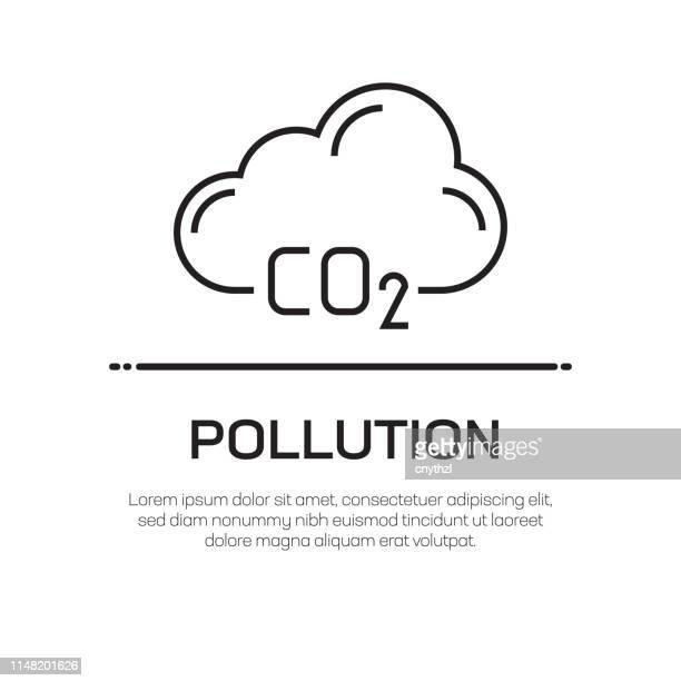 stockillustraties, clipart, cartoons en iconen met vervuiling vector lijn icon-eenvoudige dunne lijn icoon, premium kwaliteit design element - kwaliteit