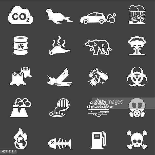 Pollution White Silhouette Icons | EPS10