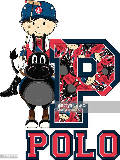 Polo Player on Horse Learning Letter P