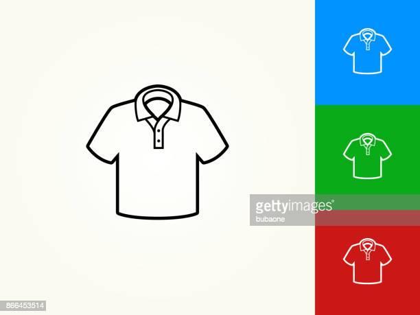 Polo Shirt Black Stroke Linear Icon