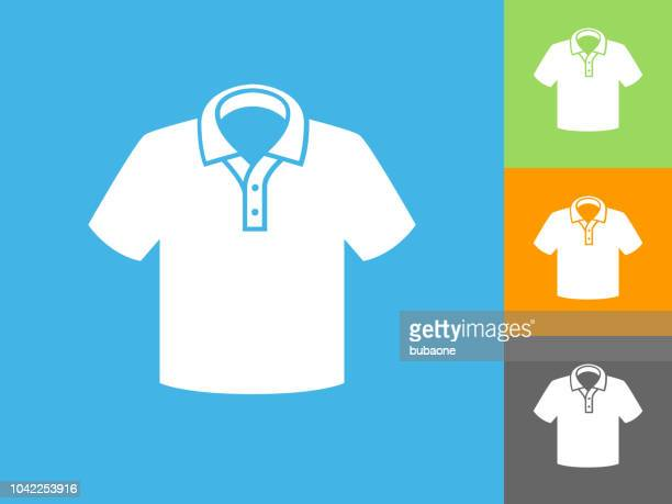 Polo Shirt Flat Icon on Blue Background