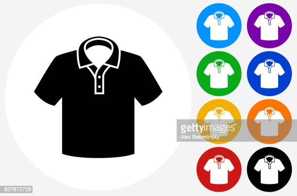 Polo Shirt Icon on Flat Color Circle Buttons