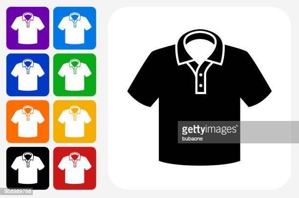 illustrazioni stock, clip art, cartoni animati e icone di tendenza di set di bottone quadrato icona polo - maglietta polo