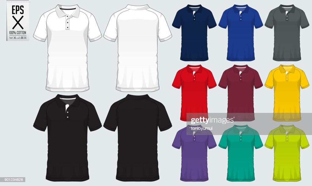 Polo t shirt sport design template for soccer jersey, football kit or sport club. Sport uniform in front view and back view. T-shirt mock up for sport club. Vector.