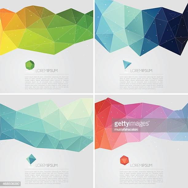 polygon abstract backgrounds with text - crystal stock illustrations