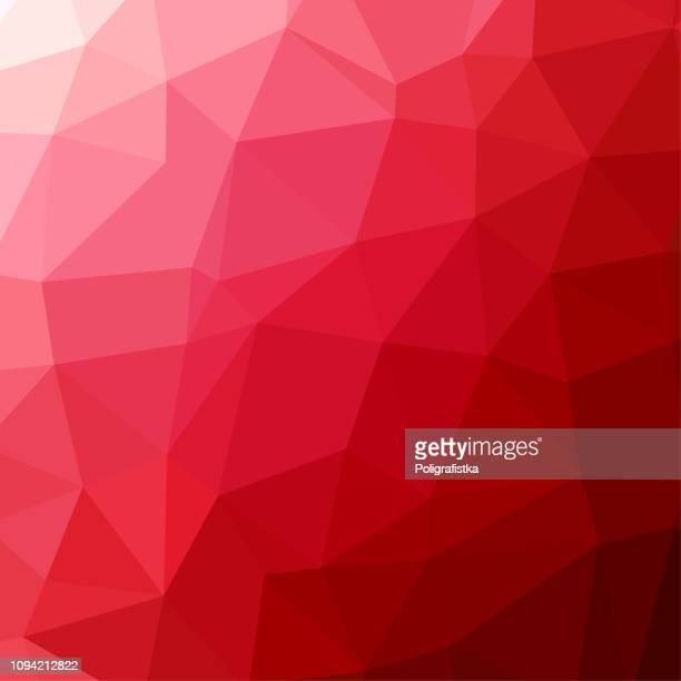 polygon hintergrundmuster - polygonal - rote tapete - vektor-illustration - rot stock-grafiken, -clipart, -cartoons und -symbole