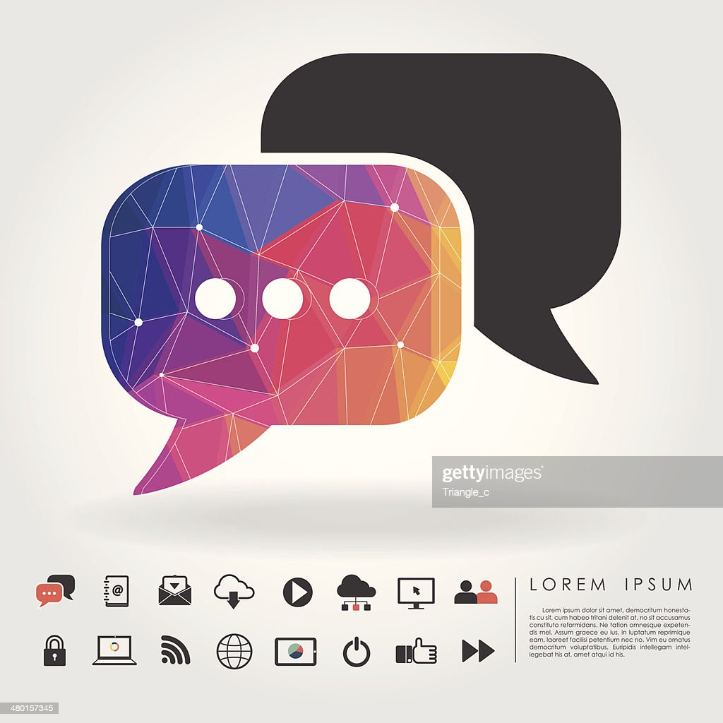 polygon bubble talk with communication icon
