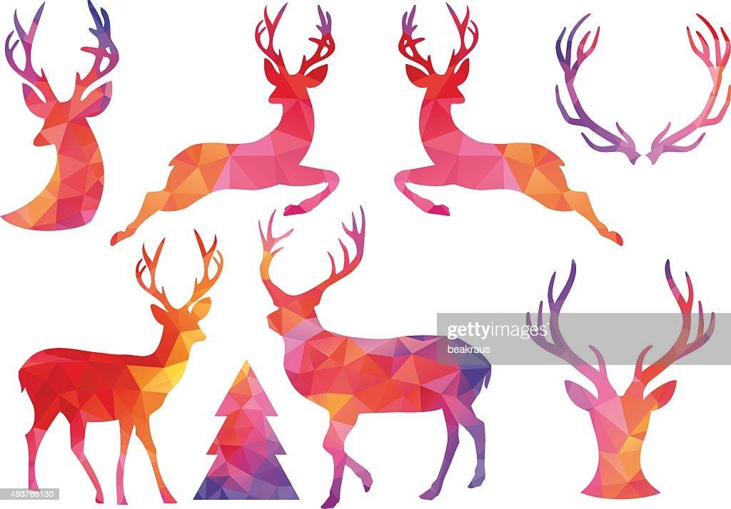 Polygon Christmas deer, vector set