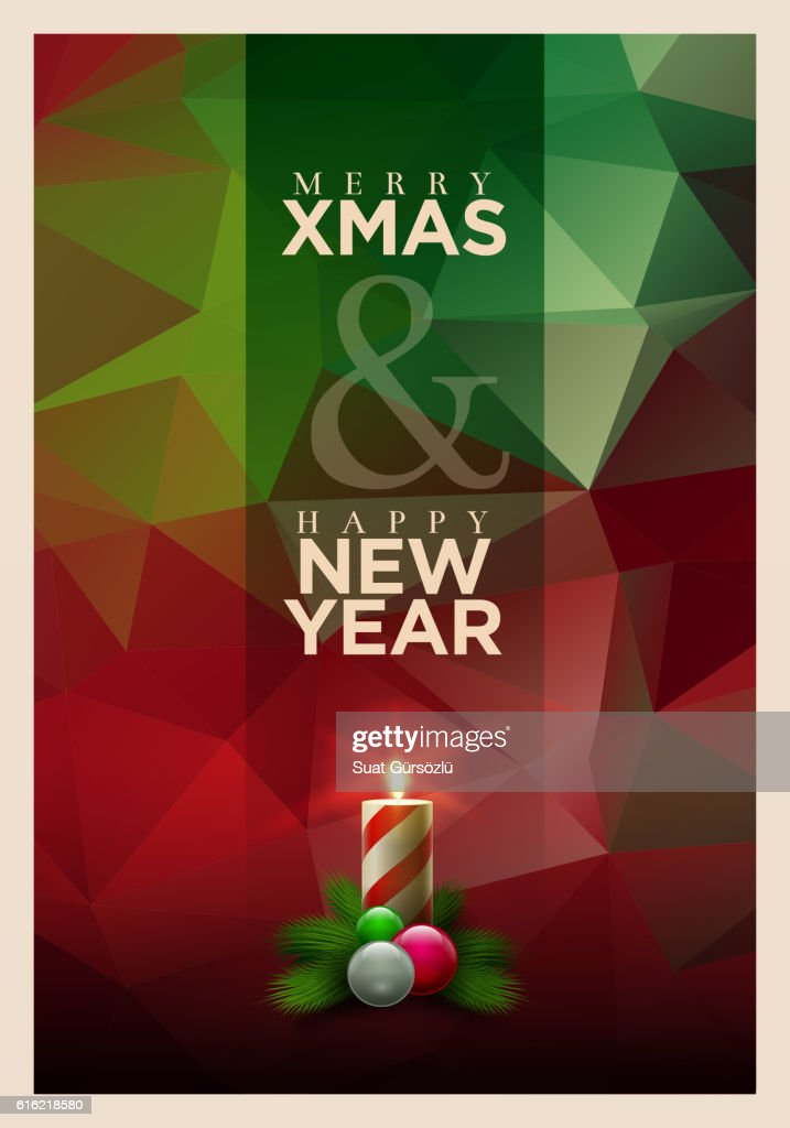 Polygon Christmas Greeting Card Design : Vector Art