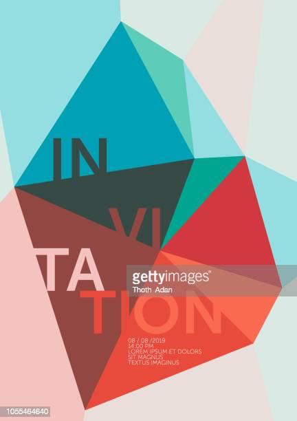ilustrações de stock, clip art, desenhos animados e ícones de polygon crystal – invitation template (geometric minimalism set) - op art