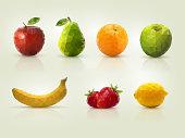 Polygon fruit illustrations