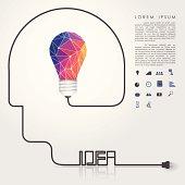 polygon idea light bulb with business icon and idea head wire