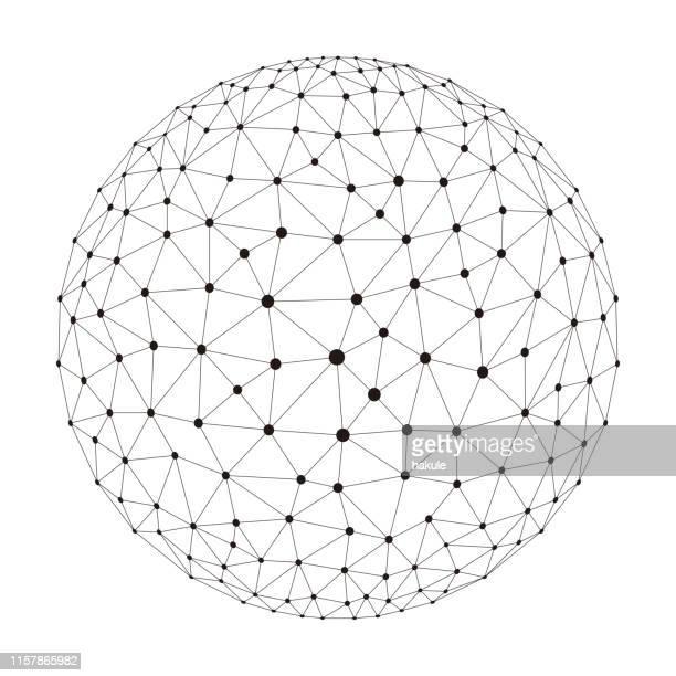ポリゴン メッシュ球、細い線、ベクトル図 - コンピュータネットワーク点のイラスト素材/クリップアート素材/マンガ素材/アイコン素材