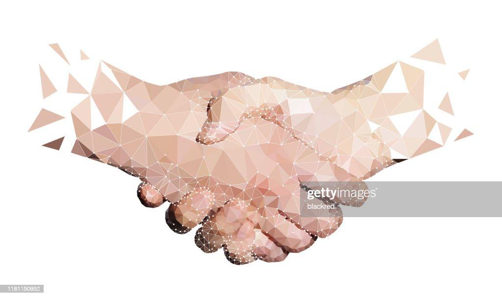 Polygone de deux mains de haute technologie Handshaking : Illustration