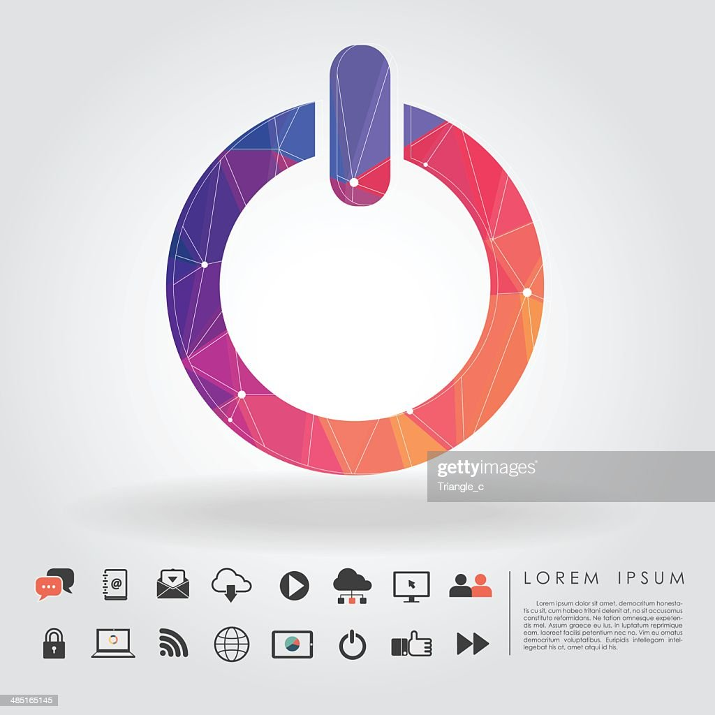 polygon power button symbol with communication icon