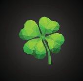 polygon symbol of good luck four-leaf clover green on black