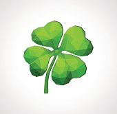 polygon symbol of good luck four-leaf clover green on white