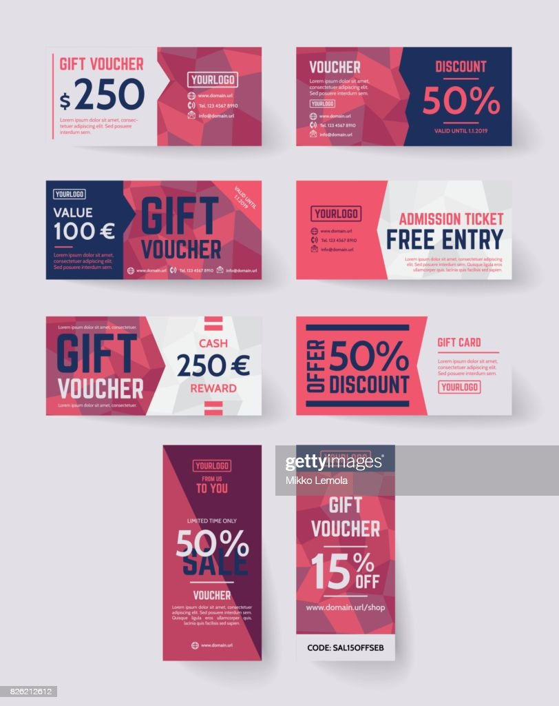 Polygon vector style gift voucher templates