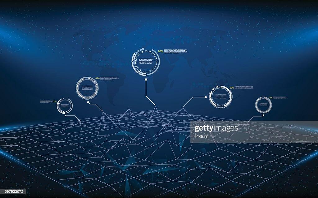 polygon wireframe landscape technology innovation concept background