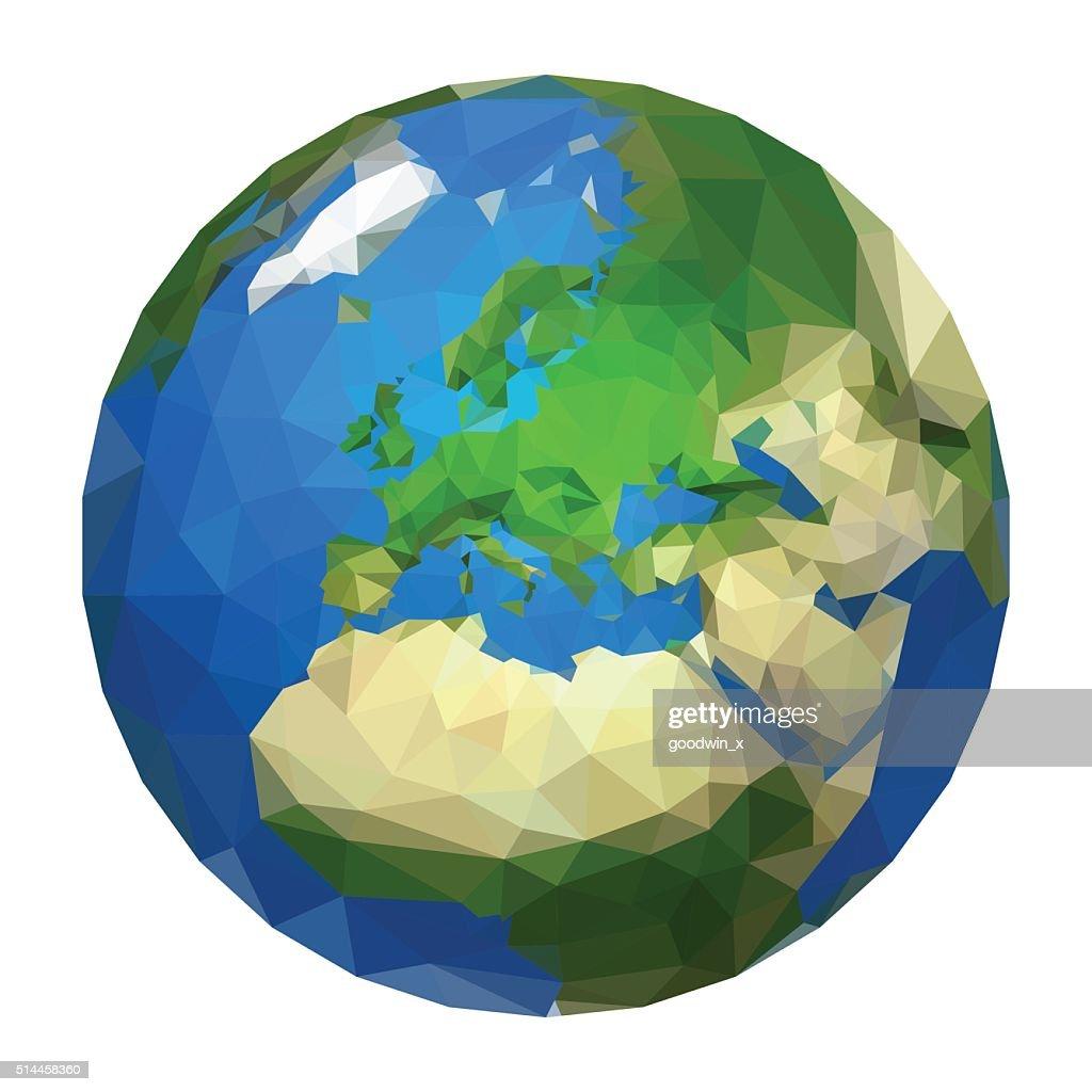 polygonal ball planet earth europe white