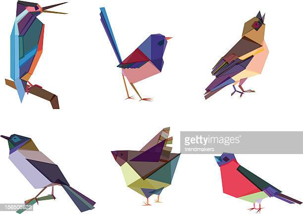 polygonal birds - quail bird stock illustrations, clip art, cartoons, & icons