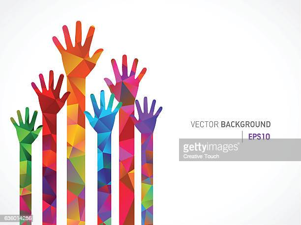 Polygonal Colored Human Hands