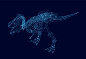 Polygonal dinosaur wireframe. Isometric view. 3D. Vector