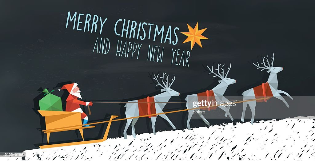 polygonal folded santa claus and reindeer sleigh on blackboard