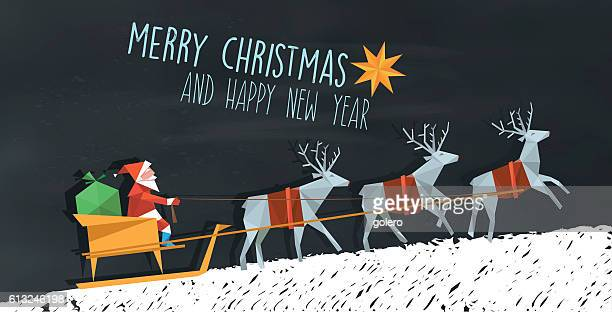 polygonal folded santa claus and reindeer sleigh on blackboard - サンタ ソリ点のイラスト素材/クリップアート素材/マンガ素材/アイコン素材