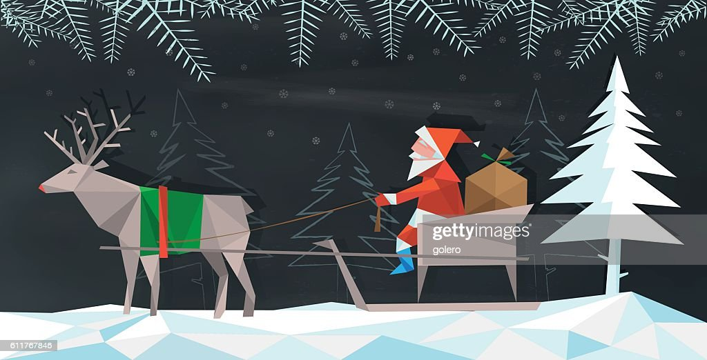 polygonal folded santa claus with reindeer sleigh on chalkboard