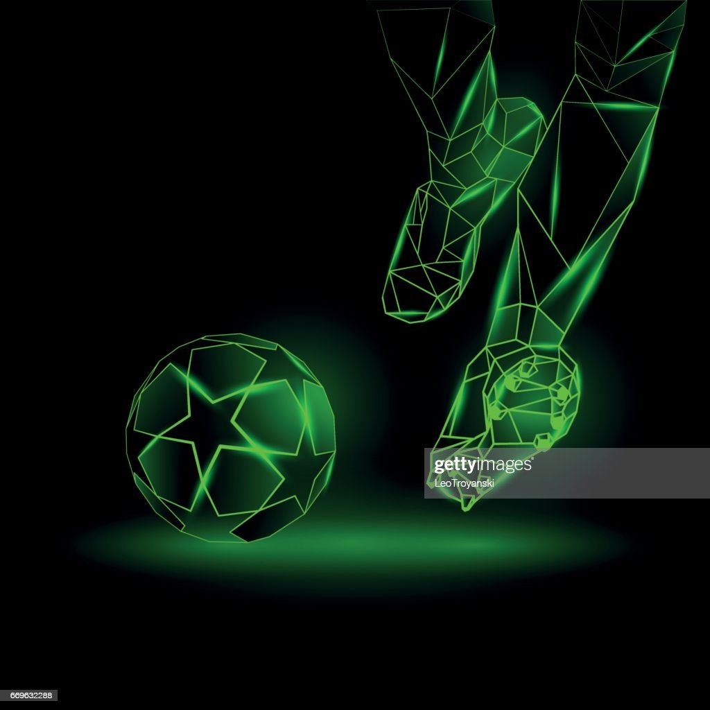 Polygonal Football Kickoff illustration. Soccer player hits the ball. Sports green neon background.
