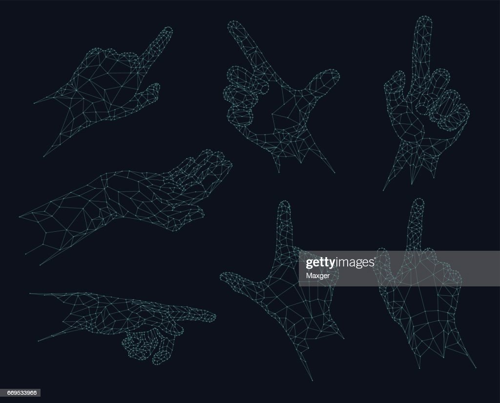 Polygonal gestures, Futuristic low poly hands vector illustration