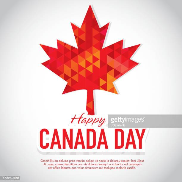 polygonal happy canada day celebration greeting card design template - maple leaf stock illustrations