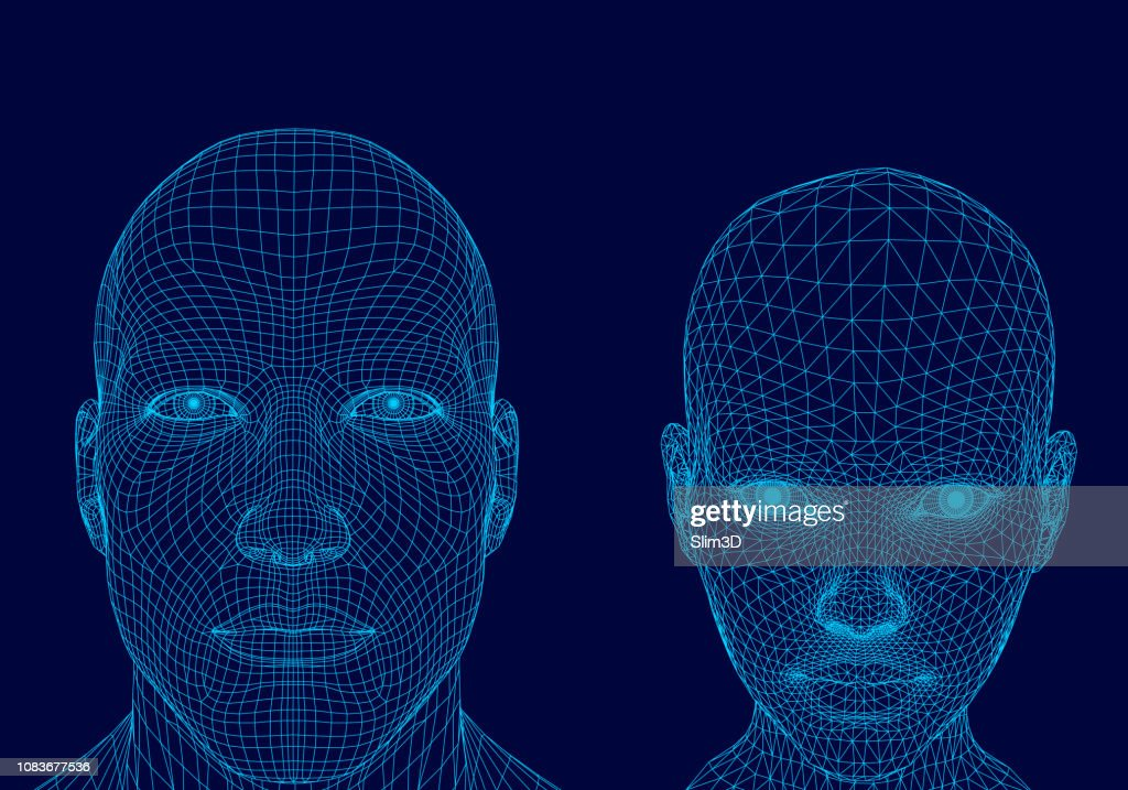 Polygonal head of a man and girl