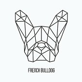 Polygonal head of french bulldog, symbol of 2018 New Year. Vector illustration of dog silhouette.