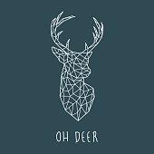 Polygonal head of scandinavian deer. Modern vector illustration.