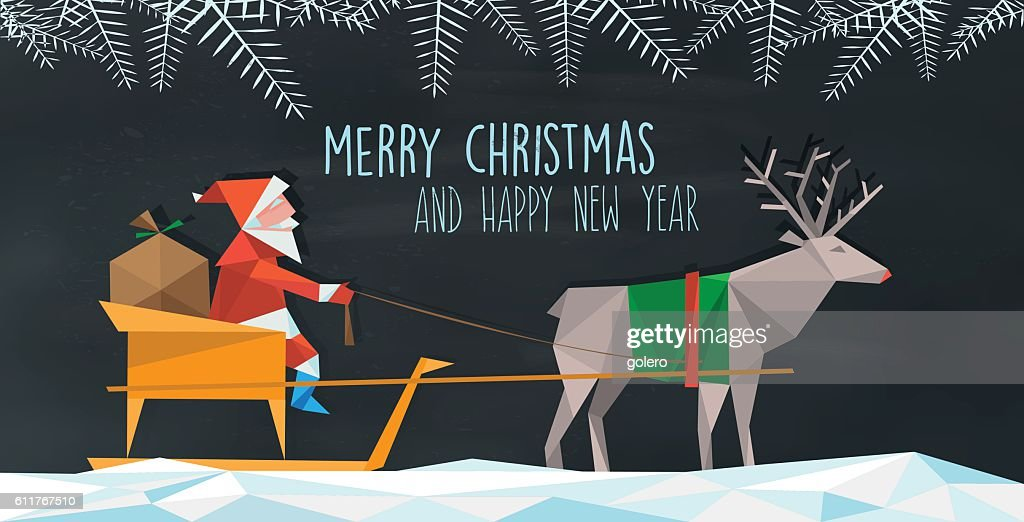 polygonal illustration of santa claus with reindeer sleigh on chalkboard