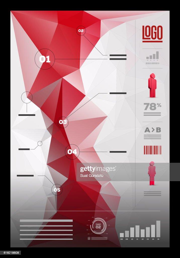 Polygonal infographic design template : Vektorgrafik