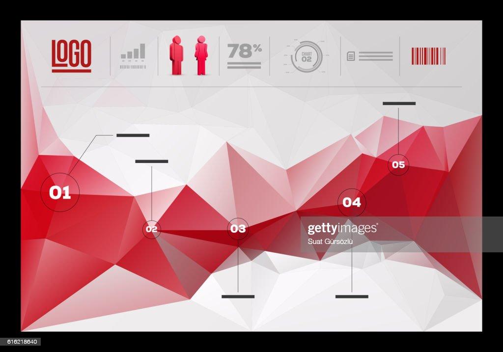 Polygonal infographic design template : Vectorkunst